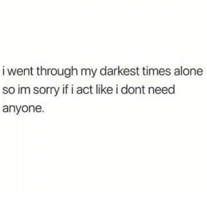 https://t.co/0k0R5smEdt: i went through my darkest times alone  so im sorry if i act like i dont need  anyone. https://t.co/0k0R5smEdt