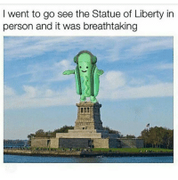Memes, Statue of Liberty, and Liberty: I went to go see the Statue of Liberty irn  person and it was breathtaking 😂lol