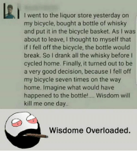 Be Like, Meme, and Memes: I went to the liquor store yesterday on  my bicycle, bought a bottle of whisky  and put it in the bicycle basket. As I was  about to leave, I thought to myself that  if I fell off the bicycle, the bottle would  break. So I drank all the whisky before I  cycled home. Finally, it turned out to be  a very good decision, because I fell off  my bicycle seven times on the way  home. Imagine what would have  happened to the bottle!.... Wisdom will  kill me one day  Wisdome Overloaded. Twitter: BLB247 Snapchat : BELIKEBRO.COM belikebro sarcasm meme Follow @be.like.bro