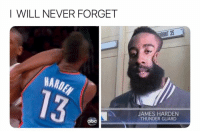 Abc, Basketball, and James Harden: I WILL NEVER FORGET  AANT 35  MARDE  JAMES HARDEN  THUNDER GUARD  abc Probably still have nightmares lmao (Via ‪OhShitThatsHerr‬-Twitter)