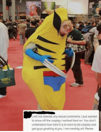 "Cosplay, Http, and How: I will not tolerate any sexual comments. I just wanted  to show off the cosplay I worked hard on. You don't  understand how hard it is to want to do cosplay and  get guys gawking at you. I am creating art. Please <p>Potential to Invest? via /r/MemeEconomy <a href=""http://ift.tt/2BJb38K"">http://ift.tt/2BJb38K</a></p>"