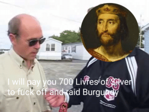 King Charles III bribing the Vikings beseiging Paris, ca. 886 A.D (colorized): I will pay you 700 Livres of/sMe  to fuck off and aid Burg King Charles III bribing the Vikings beseiging Paris, ca. 886 A.D (colorized)