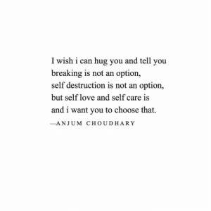 self love: I wish i can hug you and tell you  breaking is not an  self destruction is not an option,  option,  but self love and self care is  and i want you to choose that.  -ANJUM CHOUDHARY