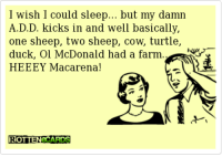 Dank, McDonalds, and Duck: I wish I  could sleep... but my damn  A.D.D. kicks in and well basically,  one sheep, two sheep, cow, turtle,  duck, Ol McDonald had a farm.  HEEEY Macarena  ROTTENECARDS