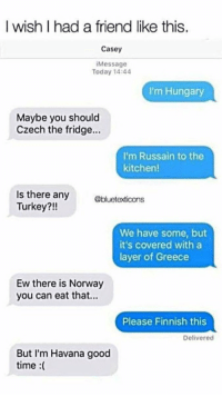 Good, Greece, and Norway: I wish I had a friend like this.  Casey  Message  Today 14:44  I'm Hungary  Maybe you should  Czech the fridge...  I'm Russain to the  kitchen!  Is there any  Turkey?!!  @bluetexticons  We have some, but  it's covered with a  layer of Greece  Ew there is Norway  you can eat that...  Please Finnish this  Delivered  But I'm Havana good  time :( https://t.co/A4w93Rj4PC
