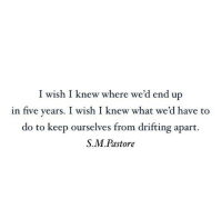 S&m, What, and Five: I wish I knew where we'd end up  in five years. I wish I knew what we'd have to  do to keep ourselves from drifting apart.  S.M.Pastore