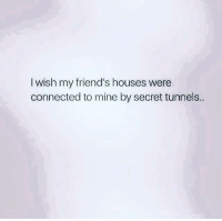 Dank, Friends, and Connected: I wish my friend's houses were  connected to mine by secret tunnels.