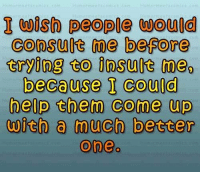 #jussayin: I wish people woud  consult me before  trying to insult meo  because I could  help them come up  with a much better  Oneo #jussayin