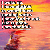 Clothes, Memes, and Run: I woke up.  I have  clothes  to wear, I have  running water.  I have food to eat.  Life is good.  I am thankful.  Awake Spiritual Thankful ❤🌅 awakespiritual Artist @goodvibesgallery 👈🙏