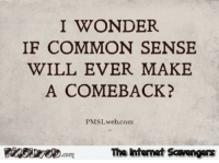 Funny, Common, and Pictures: I WONDER  IF COMMON SENSE  WILL EVER MAKE  A COMEBACK?  PMSLweb.com  PISweomThe htemet Scavengers <p>Funny sarcastic pictures  Take a spin on the wild side  PMSLweb </p>