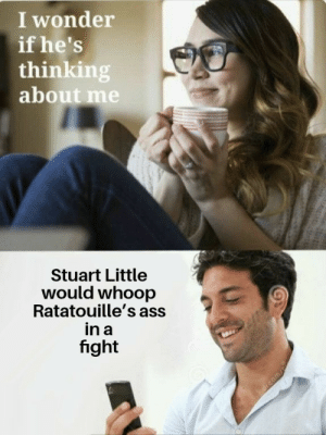 Ass, Memes, and Stuart Little: I wonder  if he's  thinking  about me  Stuart Little  would whoop  Ratatouille's ass  in a  fight What ya thinking about? via /r/memes https://ift.tt/2OUOtEF