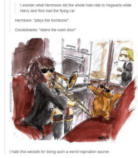 "Hermione, Memes, and Weird: I wonder what Hermione did the whole train ride to Hogwarts while  Harry and Ron had the flying car  Hermione: ""plays the trombone  Crookshanks: ""slams the oven door  I hate this website for being such a weird inspiration source"