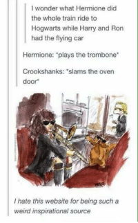 "Hermione, Memes, and Train: I wonder what Hermione did  the whole train ride to  Hogwarts while Harry and Ron  had the flying car  Hermione: ""plays the trombone  Crookshanks: slams the oven  door  I hate this website for being such a  weird inspirational source ~Corvus ϟ"