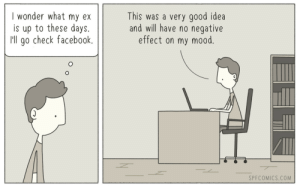 Facebook, Mood, and Good: I wonder what my ex  is up to these days.  I'll go check facebook.  This was a very good idea  and will have no negative  effect on my mood.  SPFCOMICS.COM Good idea
