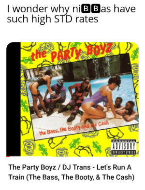 """Booty, Party, and Run: I wonder why niBBas have  such high STD rates  ORO  hePARTY BOY  the Bass, the Booty and e Cash  ADVISORY  BIPLICIT LYRICS  The Party Boyz / DJ Trans - Let's Run A  Train (The Bass, The Booty, & The Cash)  OKO """"Slob on my nob like 🌽 on the cob"""""""