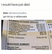 Glad I live in Canada @savagememesss: i would have just died  khev @indianschoolboi  got bit by a rattlesnake  ■SUMMARY OF PATIENT SERVICES  contact  PHARMACY  LABORATORY SERVICES  status  $83,341.25 | ■FRI  a. c  $22,433.00  INTERMEDIATE CARE ROOM 21.2880  THERAFENCY CARE SERICES$5.384 00  CARE ROOM  $17,766.00 A  EMERG  THERAPY SERVICES  RADIOLOGY  $947.00 A  $462.00  SPECIAL SERVICES  TOTAL CHARGES  $153,161.25 A  ■ ACCOUNT SUMMARY  07/04/15 to 07/09/15  EMERGENCY-IP  Service Date  vDe of Service Glad I live in Canada @savagememesss