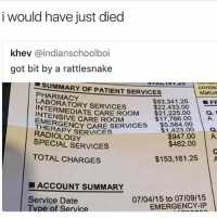 Life is expensive, you get hurt still gotta pay 😂. Follow @whitepeoplehumor for more: i would have just died  khev @indianschoolboi  got bit by a rattlesnake  SUMMARY OF PATIENT SERVICES  contac  status  PHARMACY  LABORATORY SERVICES  $83,341.25 | ■FF  INTERMEDIATE CARE RO0M $1.8 00  $22,433.00  $21,225.00  $17,766.00 A  CARE ROOM  EMERGE  THERAPY SERVICES  RADIOLOGY  $1423.0 a  $947.00 A  SPECIAL SERVICES  $462.00  TOTAL CHARGESs  $153,161.25 A  ■ ACCOUNT SUMMARY  07/04/15 to 07/09/15  EMERGENCY-IP  Service Date  pe of Service Life is expensive, you get hurt still gotta pay 😂. Follow @whitepeoplehumor for more