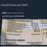 good fucking morning: i would have just died  khev @indianschoolboi  got bit by a rattlesnake  SUMMARY OF PATIENT SERVICES  contact our  status of y  PHARMACY  LABORATORY SERVICES  $83.34 1.25 | ■FREQ  a. Can  $17,766.00 A. Yes  a. Car  $22,433.00  $21,225.00  NTERMEDIATE CARE ROOM 6  INTENSIVE CARE ROOM  EMERGEN  SGENCY CARE SERVICES $5,564.00  $1,423.00  THERSENCY CARE  THERAP  RADIOLOGY  SPECIAL SERVICES  $947.00 A. Ye  Q.W  $153,161.25 A. P  $462.00  TOTAL CHARGES  ■ ACCOUNT SUMMARY  07/04/15 to 07/09/15  EMERGENCY-IP  Service Date good fucking morning