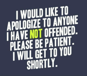 9gaggers in a nutshell: I WOULD LIKE TO  APOLOGIZE TO ANYONE  I HAVE NOT OFFENDED.  PLEASE BE PATIENT.  I WILL GET TO YOU  SHORTLY, 9gaggers in a nutshell