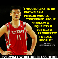 Dunkin' on capitalism since 2002.: I WOULD LIKE TO BE  KNOWN AS A  PERSON WHO IS  CONCERNED ABOUT  FREEDOM &  EQUALITY &  JUSTICE &  ROCKETS  PROSPERITY  FOR ALL  PEOPLE  YAO MING  PROFESSIONAL ATHLETE  EVERYDAY WORKING CLASS HERO Dunkin' on capitalism since 2002.