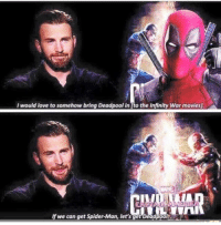 Love, Movies, and Spider: I would love to somehow bring Deadpoolin Ito the Infinity War movies.  If we can get Spider-Man, let's get Deadpooly ~Captain Deadpool
