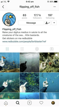 Meirl: I XL  9:43 am  86%  .  flipping_off_fish  8317.7 k 197  posts followersollowing  Message  Flipping off Fish  Raise your digitus medius in salute to all the  creatures of the sea... little bastards  Get stickers on ma redbubble  www.redbubble.com/people/fartblaster?ref Meirl