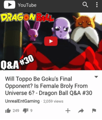 i  YouTube  PRAC W  Will Toppo Be Goku's Final  Opponent? Is Female Broly From  Universe 6? Dragon Ball Q&A #30  UnrealEntGaming 2,059 views  249 NEW VIDEO ON MY YOUTUBE CHANNEL RIGHT NOW!! WATCH IT HERE - UnrealEntGaming - Welcome back to the Dragon Ball Q&A! Got any questions you'd like to ask me? Then simply drop them down in the comments and LETS TALK DRAGON BALL! If opinions differ, lets discuss them and share our viewpoints on all things Dragon Ball related! Hope you guys sit back, relax and enjoy! Questions are related to the Universe Survival Arc including questions on Basil Vs Gohan, Dragon Ball Super Episode 80 and more! Be sure to check out my reviews and Dragon Ball content on my YouTube channel for more! Dont forget to share this news everywhere and Stay tuned! check out my YouTube channel at UnrealEntGaming for all the most epic battles and so discussions. Don't miss all the epic news, what-if battles, updates and more Here @ Youtube.Com-UnrealEntGaming Youtube.Com-UnrealEntGaming Youtube.Com-UnrealEntGaming DragonballZ DBZ DBGT Goku Vegeta Zamasu Beerus Piccolo Dragonball Gogeta SonGoku Anime Frieza GokuBlack Xenoverse2 Vegito SSGSS SuperSaiyanGod Champa Whis Manga SuperSaiyan Gohan DBS DragonBallSuper SSG KidBuu SuperSaiyanBlue Vados Trunks