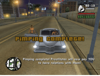 Pimping: i02: 13  Pimping complete! Prostitutes will now pay YOU  to have relations with them!
