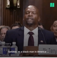America, Memes, and Survivor: I1  duciary  Senator, as a black man in America..  err Actor TerryCrews testified his own experience as a survivor of sexual assault and declined a role in Expendables4 after being pressured by the movie producer to drop the lawsuit against his former WME agent AdamVenit ✊🏽 . . From : @twinteatime 🎥: @huffpost