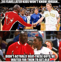 Memes, Nba, and Goat: i30YEARSILATER KIDS WON'T KNOW JORDAN  @PER SOURCES  WAITED FOR THEMTOGETOLD Is Jordan the GOAT? Maybe! But was his path ACTUALLY any harder than LeBron's? The Bulls had a super team for about 4 of his rings and onpuplar opinion that I stand by: Gregg Popovich's Spurs were BETTER than the Stockton Malone Jazz teams. At least LeBron beat those who beat him before their aging teams fell apart!! NBA NBAMemes MichaelJordan LeBronJames