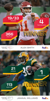 Memes, Chiefs, and Congratulations: i3n  19/33  PASSING  TOUCHDOWNS  366  INNE  PASS YDS  #AIRAND  ALEX SMITH  FedEx  GROUND   PACKERS  21  RUSHES  TOUCHDOWN  113  RUSH YDS  FedEx  #AIRAND  JAMAAL WILLIAMS  GROUND Congratulations to @Chiefs QB Alex Smith & @packers RB @jswaggdaddy on being named Week 13's @FedEx #AirAndGround Players of the Week! https://t.co/ihO2p0Bv58