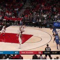 Dunk of the night: Terrence Ross throws down on Nurkic! https://t.co/YfXfZ7R6MD: I5  GIC  47 TRAIL BLAZERS 51 3rd Qtr 11  :37 Dunk of the night: Terrence Ross throws down on Nurkic! https://t.co/YfXfZ7R6MD