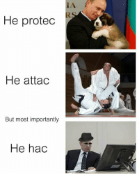 Memes, 🤖, and Safe: IA  He protec  He attac  But most importantly  He hac Comrade keeping motherland safe. Much vodkas