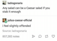 Night guys xx: Iadragonaria  Any salad can be a Caesar salad if you  stab it enough  julius-caesar-official  i feel slightly offended  Source: ladragonaria  857,282 notes Night guys xx