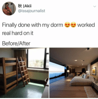 Hgtv, Relatable, and Amazing: IAkii  @issajournalist  Finally done with my dorm worked  real hard on it  Before/After it's amazing what a little hgtv can teach you (: