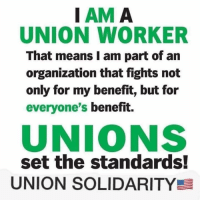 Memes, 🤖, and Union: IAM A  UNION WORKER  That means I am part of an  organization that fights not  only for my benefit, but for  everyone's benefit.  UNIONS  set the standards!  UNION SOLIDARITY