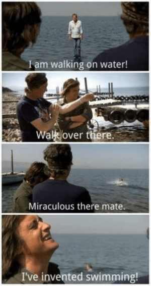 fakehistory: Jesus Christ converts two disciples to Christianity (20 AD, colourised): Iam walking on water!  Wal over there  Miraculous there mate  I've invented swimming! fakehistory: Jesus Christ converts two disciples to Christianity (20 AD, colourised)