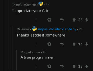 A true programmer indeed: IameAuhSomme  3h  I appreciate your flair.  25  Milleuros mv pseudocode.txt code.py 2h  Thanks, I stole it somewhere  MagneTismen 2h  A true programmer A true programmer indeed