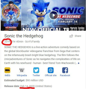 messing up the sonic design really did a number...: IAMES..  MARSDEN  CARREY  SONIC  HE HEDGEHOG  N THEATRES  FEBRUARY 14  SONIC  THE HEDGENOG  INEW OFFICIAL TD Watch Trailer  Sonic the Hedgehog  Share  2019 1hr 40min Sci-Fi/Family  SONIC THE HEDGEHOG is a live-action adventure comedy based on  the global blockbuster videogame franchise from Sega that centers  on the infamously brash bright blue hedgehog. The film follows the  (mis)adventures of Sonic as he navigates the complexities of life on  Earth with his newfound - human - best friend Tom Wachowski . +  IMDb  Official site  IMDB  Wikipedia  Facebook  Twitter  Estimated budget: $90 million USD  Release date: Feb 14. 2020 (United States) messing up the sonic design really did a number...