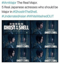 Memes, 🤖, and Shell:  #IAmMajor The Real Major  5 Real Japanese actresses who should be  Major in  #Ghost InTheShell  #UnderratedAsian #WhiteWashedOUT  GHOST SHELL  Rinko Kikuchi  NE W  M O V  GHOST SHELL  Noromi Sasaki  Nakashima Mika  GHOST SHELL  GHOST SHELL  Keiko Kitagawa  Nanami Sakuraba  GHOST SHELL  GHOST SHELL STOP 👏 WHITEWASHING 👏 MOVIES -charlotte