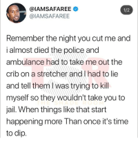 Some fresh new drama happening in the rap world. Nicki Minaj is being accused by her ex of trying to stab him, among other things: @IAMSAFAREE  @IAMSAFAREE  1/2  Remember the night you cut me and  i almost died the police and  ambulance had to take me out the  crib on a stretcher and l had to lie  and tell them I was trying to kill  myself so they wouldn't take you to  jail. When things like that start  happening more Than once it's time  to dip Some fresh new drama happening in the rap world. Nicki Minaj is being accused by her ex of trying to stab him, among other things
