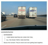 Memes, 🤖, and Road Trip: iamtheisabella:  HAVE BEEN WAITING SO LONG FOR THIS.  ALL THE ROAD TRIPS I WAS WAITING  Savour the moment. They're never ever ever getting back together. LOL