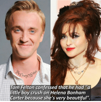 """Beautiful, Crush, and Emoji: ianw  Tom Felton confessed that he had """"a  little boy crush on Helena Bonham  Carter because she's very beautiful"""" Tom or Daniel? 💖 Your recent emoji is your reaction to this fact, comment down below! 👇💞 Tag a friend who loves Harry Potter too! 😝 • Potterheads⚡count: 135,230"""
