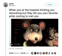 Blackpeopletwitter, Doctor, and Gif: iareb  @GOGINA  Follow  When you at the hospital thinking you  recovering but they tell you your favorite  artist coming to visit you  GIF  2:27 PM-3 Mar 2018  30,055 Retweets 108,166 Likes  G. @COC: ее <p>&ldquo;B-but Doctor, I thought you said I wouldn&rsquo;t have to suffer for much longer&hellip;&rdquo; (via /r/BlackPeopleTwitter)</p>