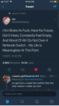 Future, God, and Hoes: IAT&T  10:42 AM  Tweet  Jacob ZL liked  tan  @mineifiwildout  l Am Broke As Fuck, Have No Future,  Got O Hoes, Constantly Feel Empty,  And Worst Of All I Do Not Own A  Nintendo Switch .. My Life ls  Meaningless At This Point  12/9/17, 12:42 PM  4,960 Retweets 14.2K Likes  i need a girlfriend im 6'4 @iloo... 20h v  Replying to @mineifiwildout  on god bro u need the switch thts the  only reason i wake up now  Tweet your reply