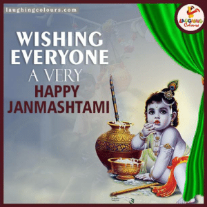 #HappyJanmashtami #HareKrishna #BirthOfKrishna: Iaughingcolours.com  LA GHING  Colours  WISHING  EVERYONE  A VERY  HAPPY  JANMASHTAMI #HappyJanmashtami #HareKrishna #BirthOfKrishna