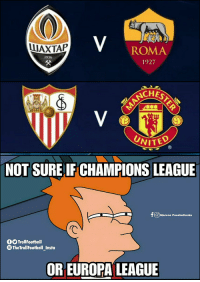Memes, Champions League, and United: IAXTAP  ROMA  1927  1936  CHES  UNITED  NOT SUREIF CHAMPIONS LEAGUE  fO Marcos Fussballeck  O TrollFootball  The TrollFootball _Insta  OR EUROPA LEAGUE UCL Tonight 😴 https://t.co/WvUxoMGXhc