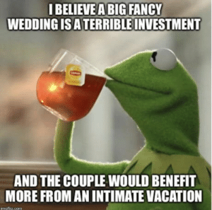 People come to weddings from obligation: IBELIEVEA BIG FANCY  WEDDING IS ATERRIBLE INVESTMENT  AND THE COUPLE WOULD BENEFIT  MORE FROM AN INTIMATE VACATION  imaftlie com People come to weddings from obligation