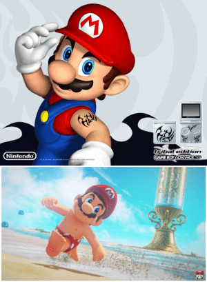 fungoidfred: can't believe nintendo made mario remove his tattoo: iBledtion  GAME BOY ADVANCE SP  Nintendo  TM AND  ARE TRADEMARKS OF NINT  ENDO.8 2003-2004 NINTENDO fungoidfred: can't believe nintendo made mario remove his tattoo