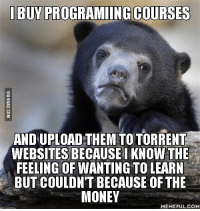the feels: IBUYPROGRAMIINGCOURSES  ANDUPLOAD THEM TOTORRENT  WEBSITESBECAUSE I KNOW THE  FEELING OF WANTING TO LEARN  BUT COULDN'T BECAUSE OF THE  MONEY  MEMEFUL COM